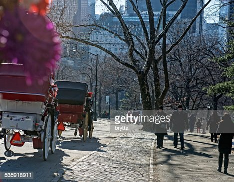 Horse-drawn  carriages leaving Central Park : Stock Photo