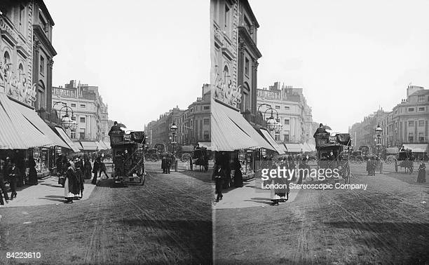 A horsedrawn omnibus at Oxford Circus in London circa 1900