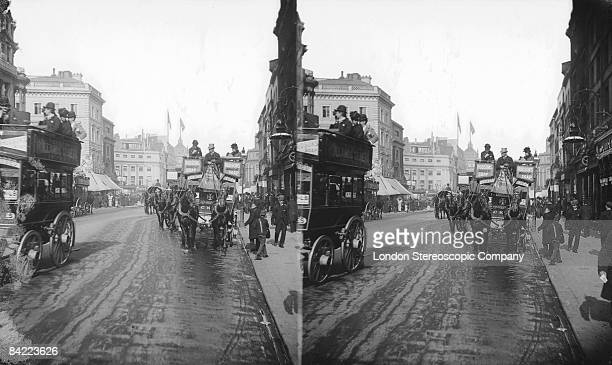 A horsedrawn opentopped omnibus near Oxford Circus London circa 1900