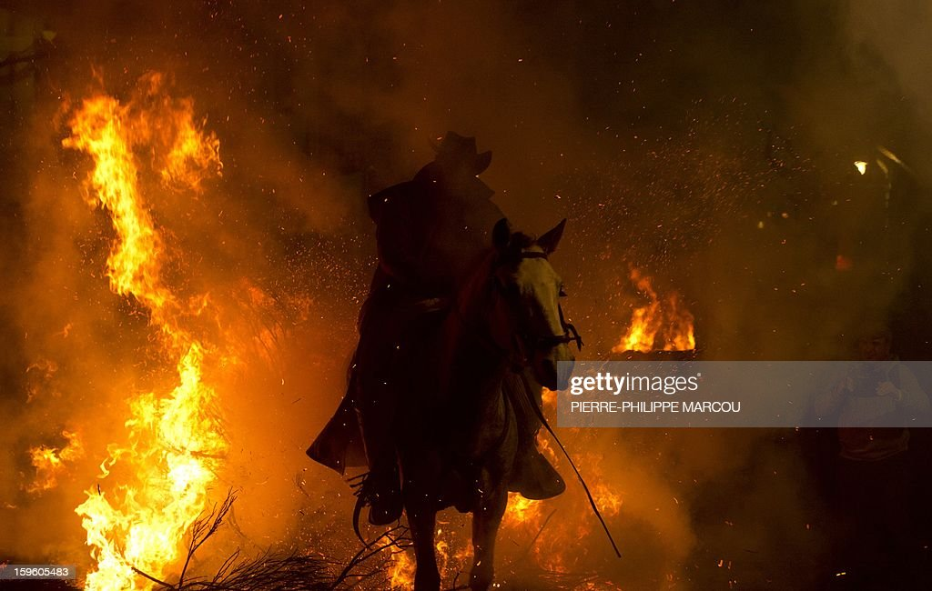 A horseman jumps over a bonfire in the central Spanish village of San Bartolome de Pinares to open the celebrations for the feast of Saint Anthony, patron saint of animals, on January 16, 2013. AFP PHOTO/ PIERRE-PHILIPPE MARCOU