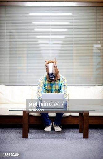 Horseman with laptop