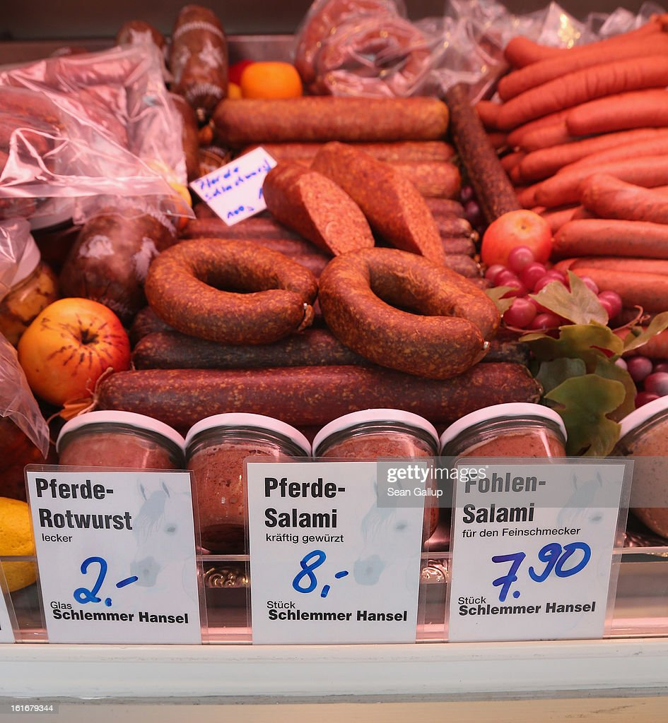Horsemeat ham, wurst and sausage lie on display at the Schlemmer Hansel stand at the weekly open-air market in Hohenschoenhausen district on February 14, 2013 in Berlin, Germany. While authorites arcoss Europe investigate the origin of ready-made lasagne that was labeled to contain only beef when it in fact also contained horsemeat, fans of horsemeat are pointing to its good taste and its health benefits. Horsemeat contains significantly less fat than beef and has slightly higher protein.