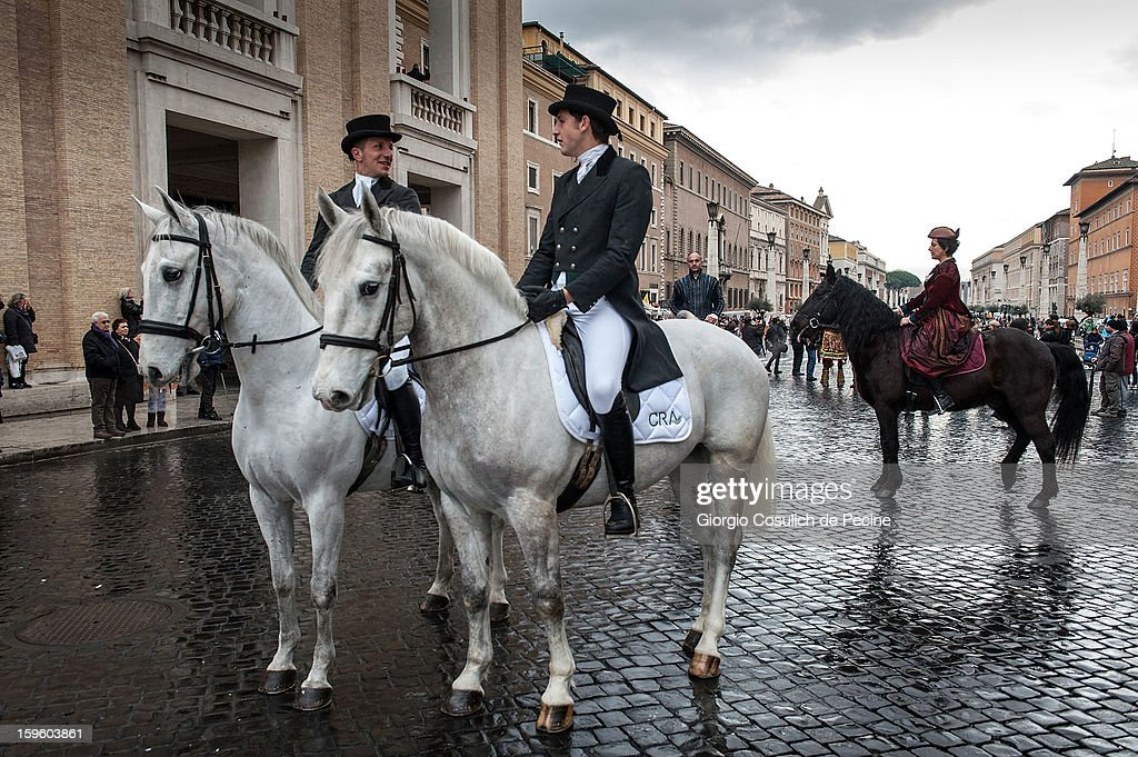 Horsemen ride their horses in front of the Saint Peter Basilica, during a traditional day of blessing of the animals, on January 17, 2013 in Vatican City, Vatican. Every year, during the feast of St. Anthony the Abbot, the traditional blessing of the animals is celebrated.