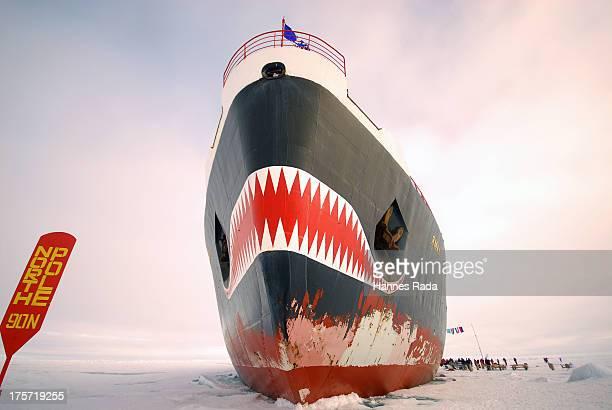 Horsepower driven nucelar icebreaker Yamal on the North Pole