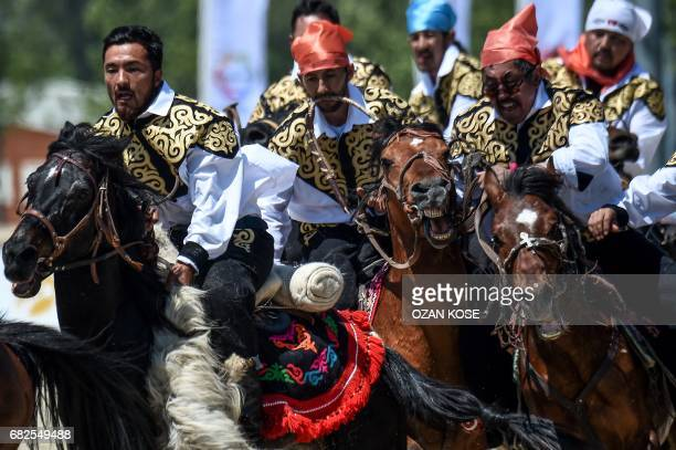 Horseriders practice the traditional central Asian sport Kokboru know also as Buzkashi or Ulak Tartis on May 11 during the Ethnosports Culture...