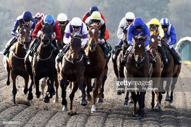 Horses and jockeys during the EBF play bingo at ladbrokescom fleur de lys fillies stakes eventually won by Baharah and jockey Hayley Turner at...