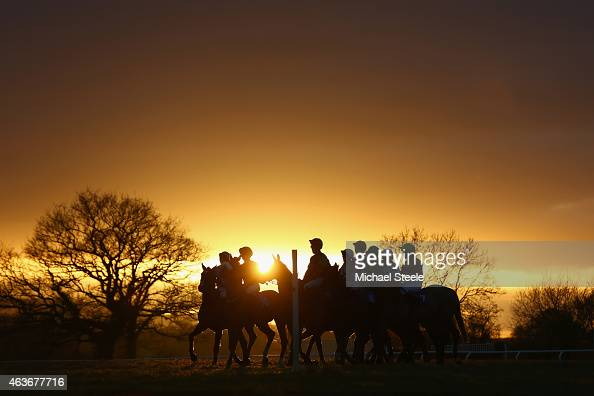 Horses and riders gather for the final race at Taunton Racecourse on February 17 2015 in Taunton England