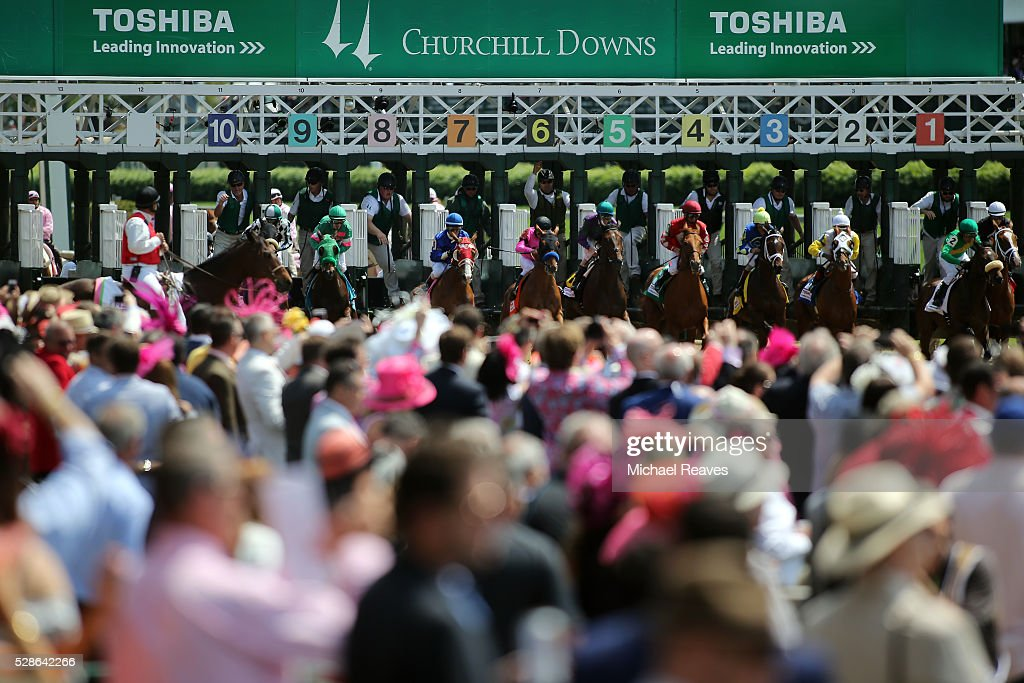 Horses break the starters gate in a race leading up to the 142nd running of the Kentucky Oaks at Churchill Downs on May 06, 2016 in Louisville, Kentucky.