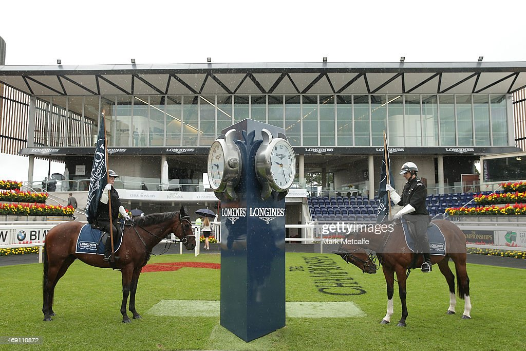Horses during the Launch Of The Longines Positioning System at Royal Randwick Racecourse on April 10 2015 in Sydney Australia