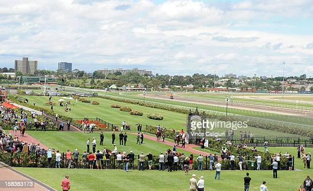 Horses head out onto the track at Flemington Racecourse on December 15 2012 in Melbourne Australia