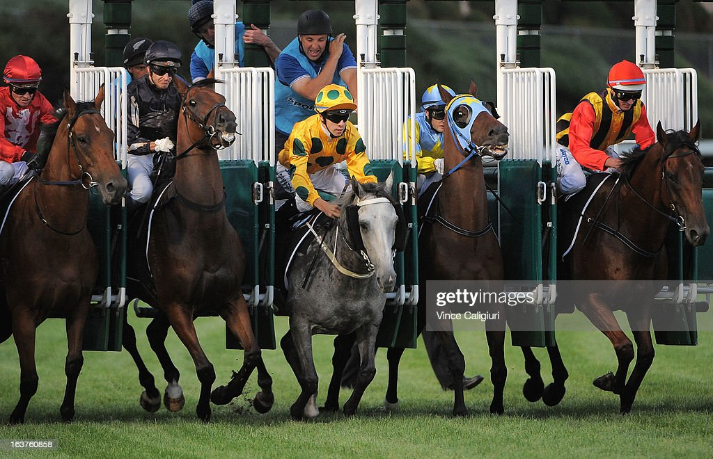 Horses jump out of the barriers in the 1Print.com.au Handicap with Luke Nolen riding Fresh Light (R) going on to win during Melbourne racing at Moonee Valley Racecourse on March 15, 2013 in Melbourne, Australia.