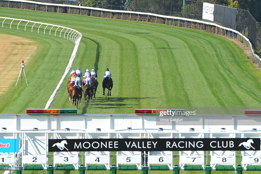 Horses jump out of the barriers in the Dominant Travis Harrison Cup during Melbourne Racing at Moonee Valley Racecourse on June 29, 2013 in Melbourne, Australia.