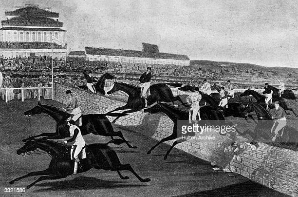 Horses jumping over the Stone Wall at the Aintree Grand National Liverpool Original Artist By Charles Hunt