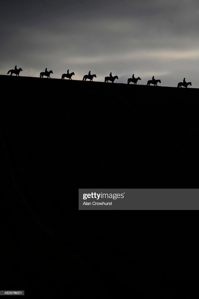 Horses make their way down the gallops at Seven Barrows Stables on November 26, 2013 in Lambourn, England.