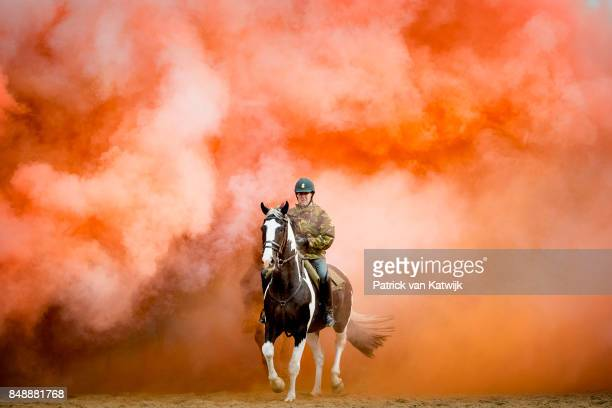 Horses of the Cavalry honorary escort are tested with noise music and smoke during a training session the day before Prinsjesdag on September 18 2017...