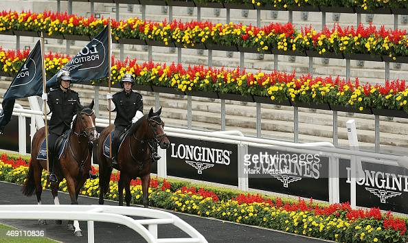 Horses parade during the Launch Of The Longines Positioning System at Royal Randwick Racecourse on April 10 2015 in Sydney Australia
