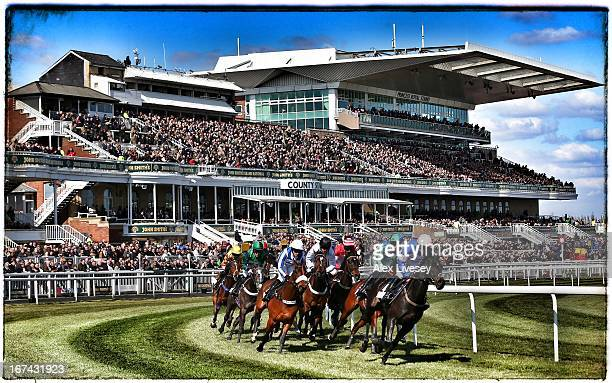 Horses pass the grandstand during The Matalan Anniversary 4YO Juvenile Hurdle Race at Aintree Racecourse on April 4 2013 in Liverpool England