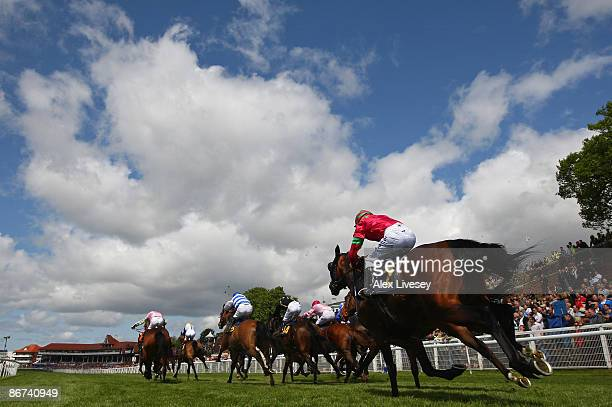 Horses race down the final straight during the SurrendaLink Earl Grosvenor Stakes at Chester Racecourse on May 8 2009 in Chester England