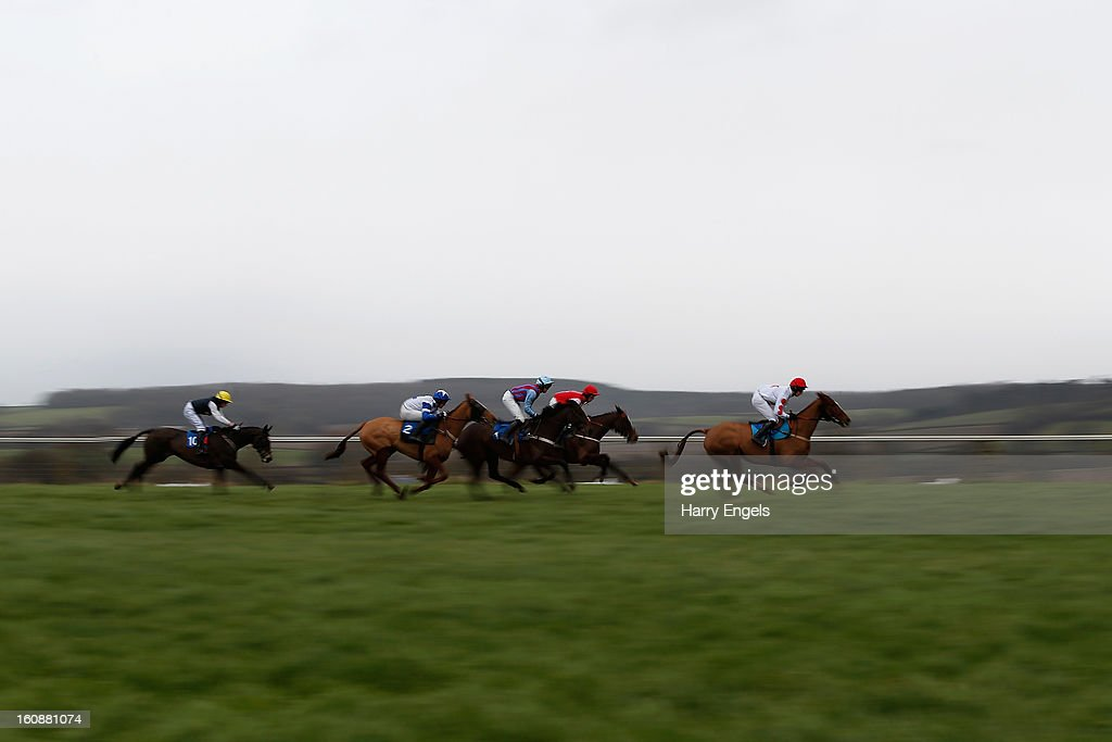 Horses race in the Easter Family Fun Day 4th April Mares' Handicap Hurdle race at Taunton Racecourse on February 7, 2013 in Taunton, England.