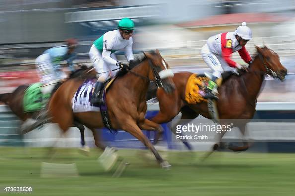 Horses race prior to the 140th running of the Preakness Stakes at Pimlico Race Course on May 16 2015 in Baltimore Maryland