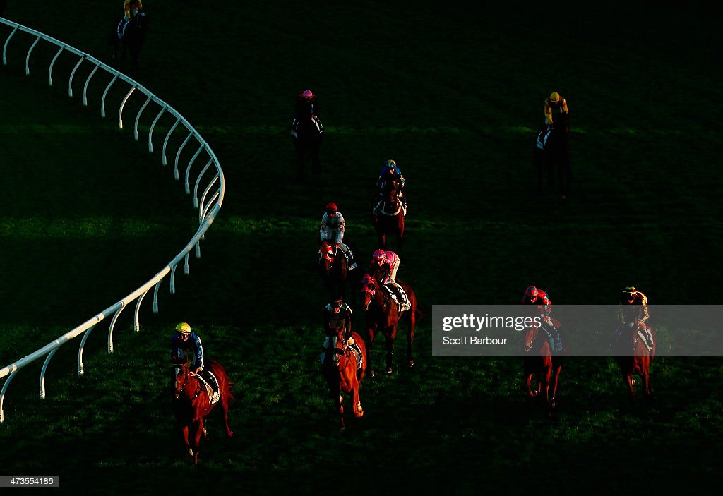 Horses return to the enclosure after competing in race 9 the Charter KC BSP Lawyers Plate during Taralye Race Day at Caulfield Racecourse on May 16...