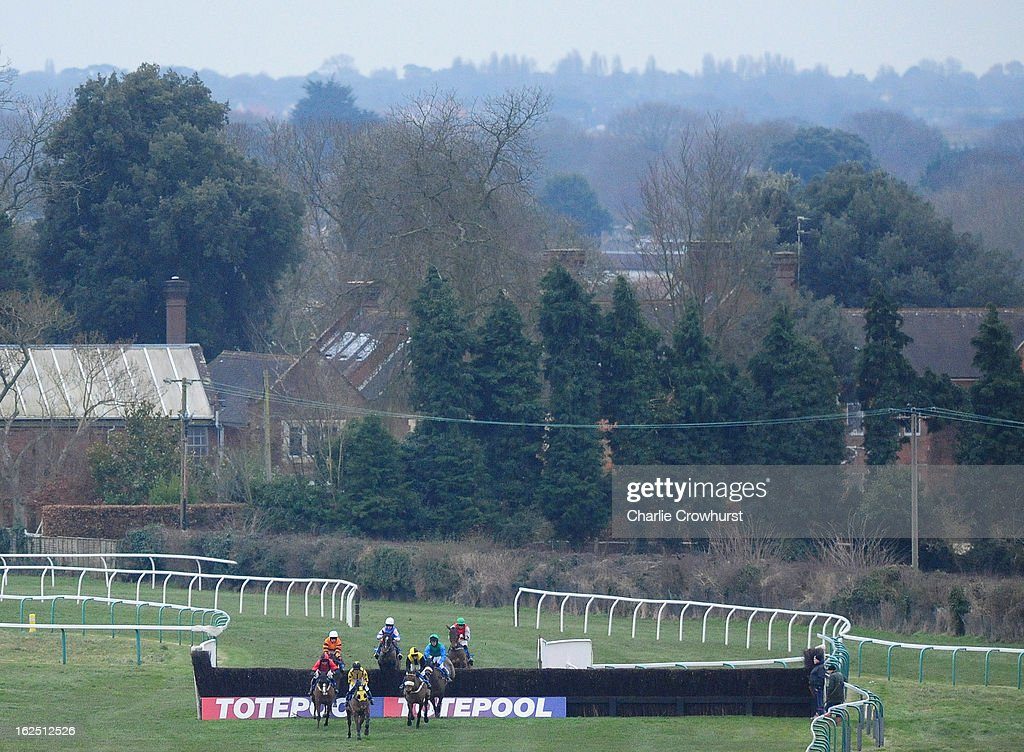Horses ride in the toteexacta Foxhunter Trial at Fontwell Park racecourse on February 24, 2013 in Fontwell, England.