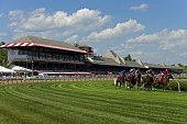 Horses round the clubhouse turn on the turf on July 23 2016 at Saratoga Race Course Saratoga Springs NY