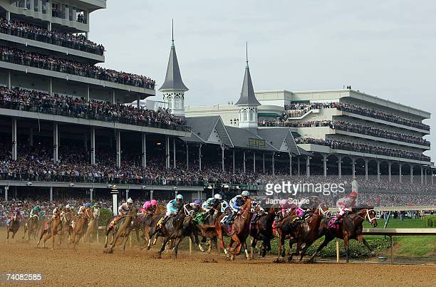 Horses round the first turn during the 133rd Kentucky Derby on May 5 2007 at Churchill Downs in Louisville Kentucky