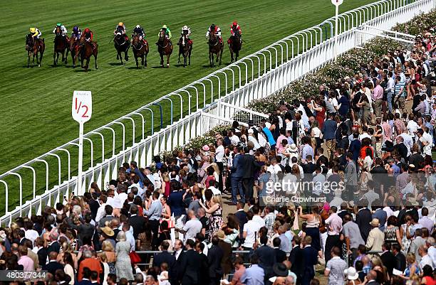 Horses run in the GL Events Owen Brown Handicap Stakes at Ascot racecourse on July 11 2015 in Ascot England