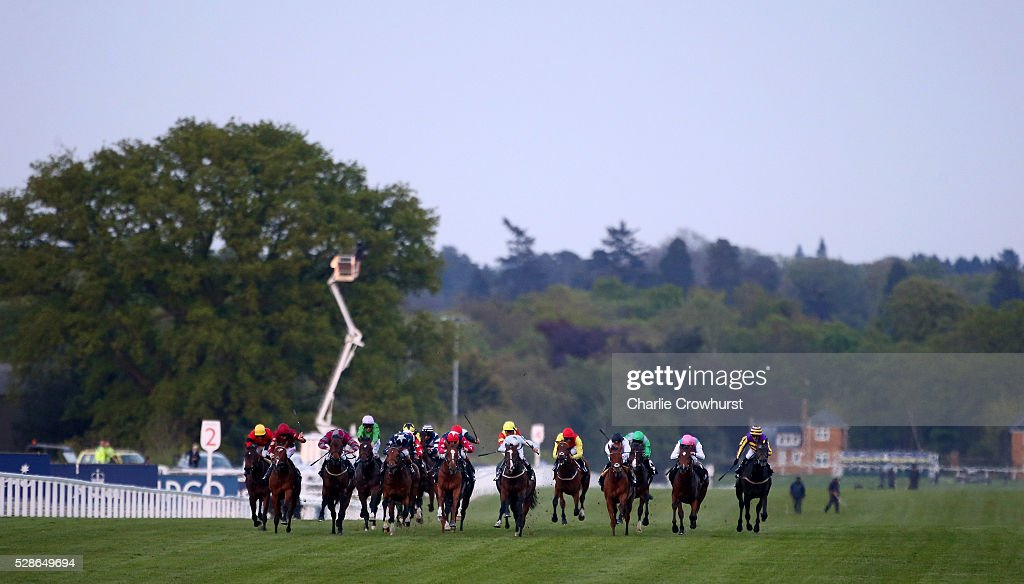 Horses run in The Mitie Total Security Handicap Stakes at Ascot racecourse on May 06, 2016 in Ascot, England.