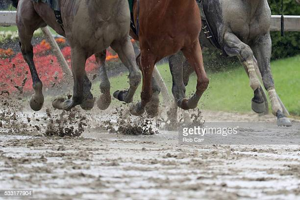 Horses run in the mud during the first race of the day before the 141st running of the Preakness Stakes at Pimlico Race Course on May 21 2016 in...