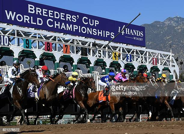 Horses start the Breeders' Cup Juvenile Fillies race during day two of the 2016 Breeders' Cup World Championships at the Santa Anita racetrack in...