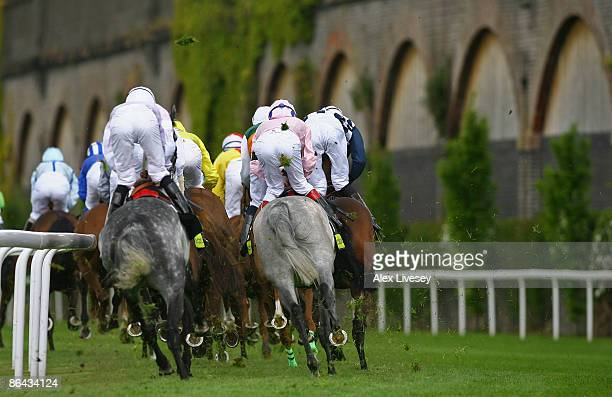 Horses take the first bend during The totesportcom Chester Cup at Chester Racecourse on May 6 2009 in Chester England