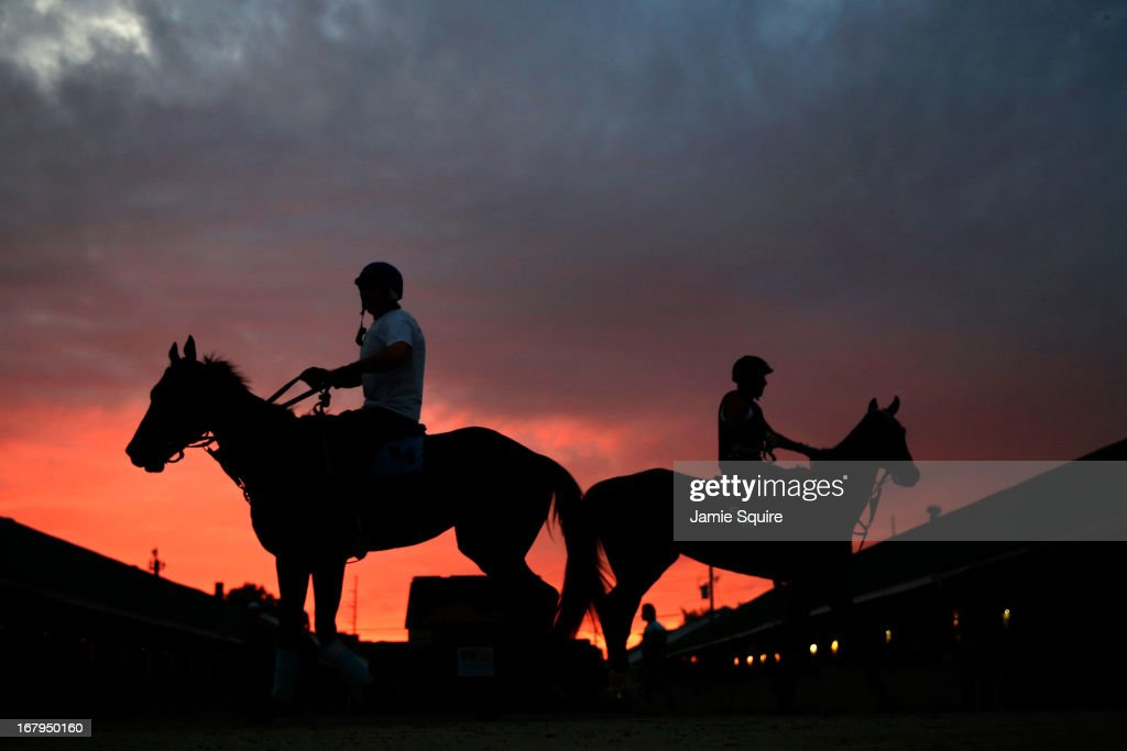 Horses walk in the stable as the sun rises during morning workouts for the 2013 Kentucky Derby at Churchill Downs on May 3, 2013 in Louisville, Kentucky.