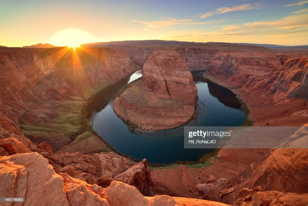 Horseshoe Bend Colorado river sunset