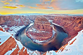 View of Horseshoe Bend (Arizona) at the sunset in the winter.