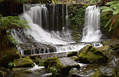 Horseshoe Falls flowing after autumn rainfall in Mt Field National Park, Tasmania, Australia.