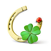 Horseshoe with leaf clover and a ladybug. 3d render
