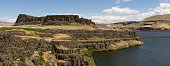 The River rolls by Horsethief Butte in the Columbia River Valley
