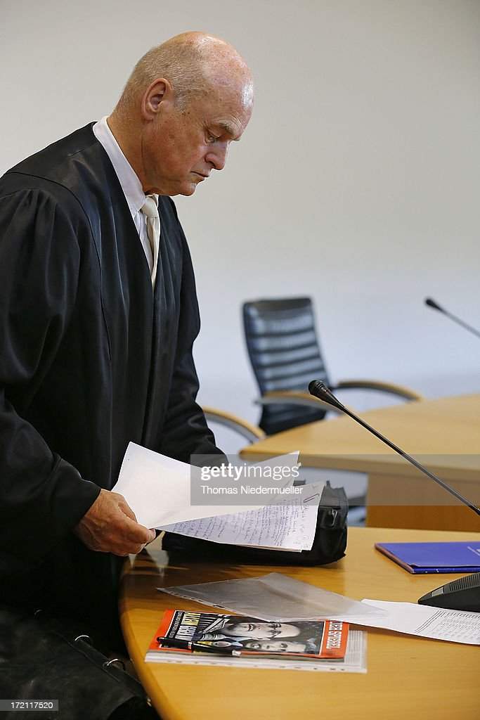 Horst Dieter Poetschke, lawyer for the accused Russian spies with the aliases Andreas and Heidrun Anschlag appears in court on the last day of their trial on July 2, 2013 in Stuttgart, Germany. The couple came to Germany in 1988, reportedly as KGB spies, and continued operating for the modern Russian intelligence service while maintaining a front as immigrants from South America until their arrest in late 2011 by German police. Among the couple's biggest coups was recruiting Dutch Foreign Ministry worker Raymond Valentino Poeteray, who sold them top secret NATO documents. The couple also had a daughter while living in Germany who is now in her early 20's and reportedly knew nothing of her parents' true identity and espionage activities. German law enforcement authorities came onto the Anschlags' trail following the arrests last year of 10 Russian spies in the United States.