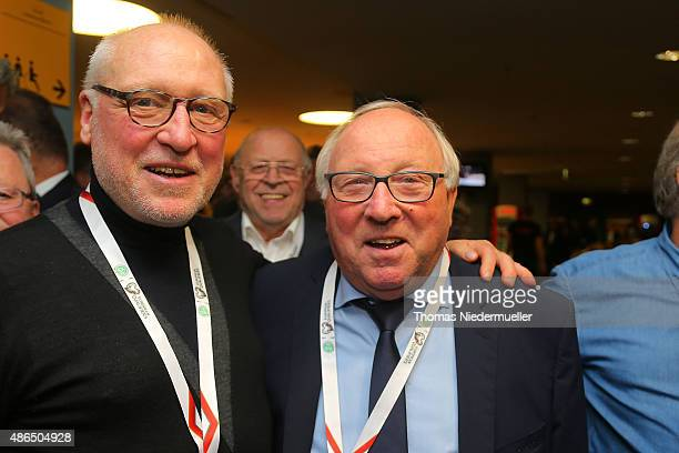Horst Heese and Uwe Seeler members of the Club of Former National Players are seen prior to the EURO 2016 Qualifier match between Germany and Poland...