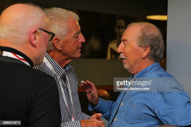 Horst Heese Erich Ribbeck and Juergen Grabowski member of the Club of Former National Players are seen prior to the EURO 2016 Qualifier match between...