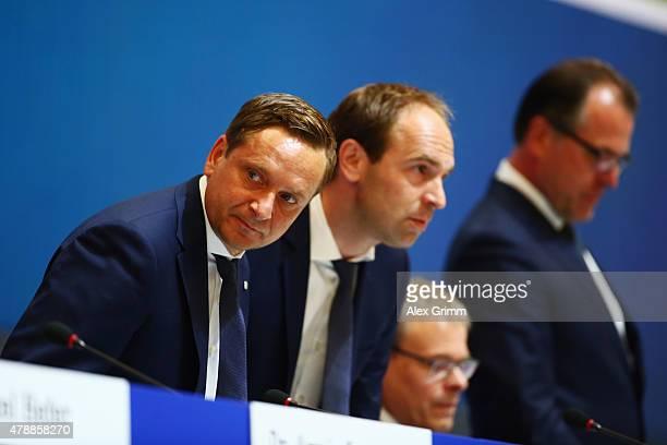 Horst Heldt Alexander Jobst Peter Peters and chairman Clemens Toennies attend the general assembly of FC Schalke 04 at VeltinsArena on June 28 2015...