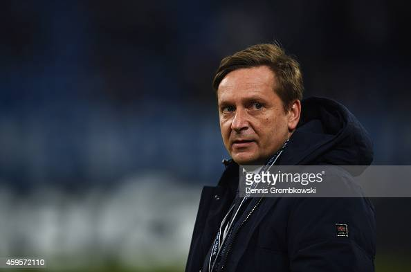 Horst Heldt general manager of Schalke looks on prior to the UEFA Champions League Group G match between FC Schalke 04 and Chelsea FC at Stadion...