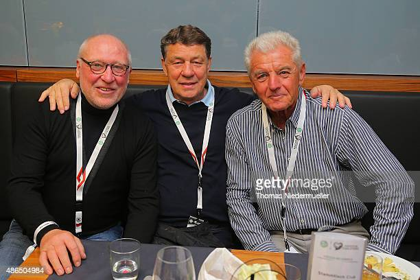 Horst Hese Otto Rehagel and Erich Ribbeck member of the Club of Former National Players are seen prior to the EURO 2016 Qualifier match between...