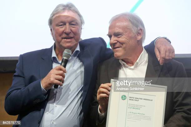 Horst Hrubesch and Hermann Gerland during the FritzWalterMedaille Awarding Ceremony on September 4 2017 in Stuttgart Germany
