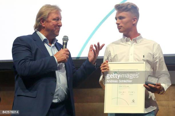 Horst Hrubesch and JannFiete Arp Winner of Gold U17 of FritzWalterMedaille during the FritzWalterMedaille Awarding Ceremony on September 4 2017 in...