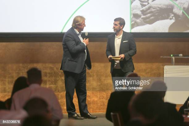 Horst Hrubesch and Marco Hagemann during the FritzWalterMedaille Awarding Ceremony on September 4 2017 in Stuttgart Germany