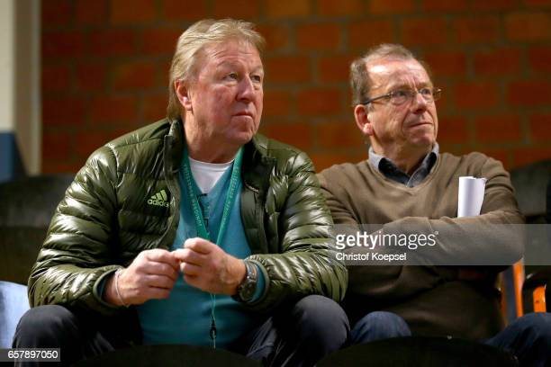 Horst Hrubesch and Paul Schomann former national coach of Germany Futsal are seen during the B and C Juniors German Indoor Football Championship at...