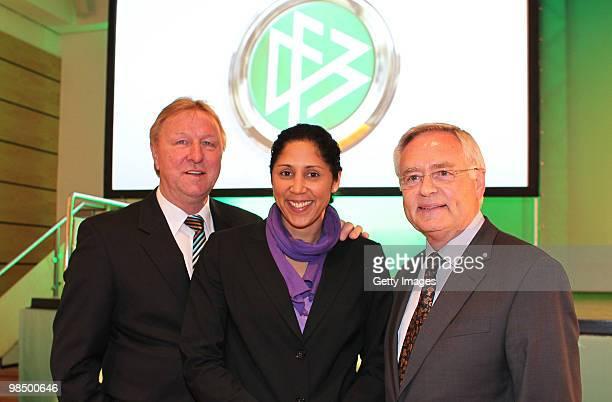 Horst Hrubesch coach of DFB Steffi Jones president of organisation of Women's world championships 2011 and Horst R Schmidt Chairman of the FIFA...